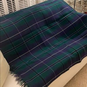 Vintage Argyll Green and Navy Blue Plaid Blanket